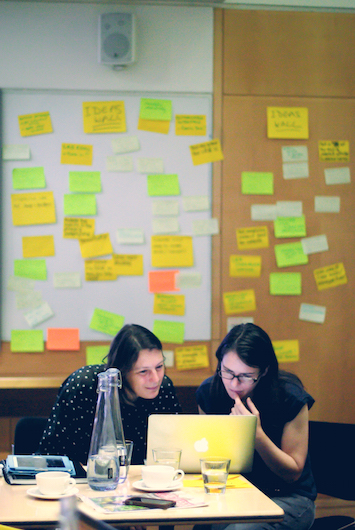 Beck and Nicky slaving over a hot image map