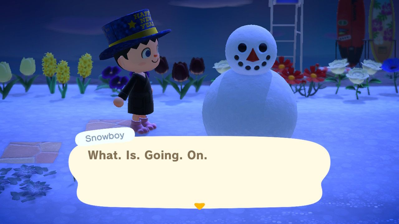 "Displeased Animal Crossing snow person saying ""What. Is. Going. On."""